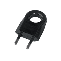 TWO PIN PLUG WITH EXTRACTION RING 6A BLACK